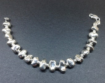 Sterling Silver Nugget Bracelet, Medium Weight