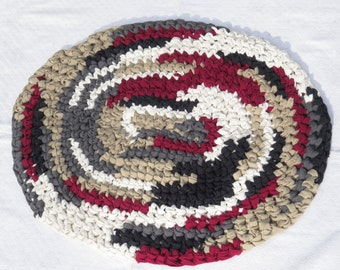 Crocheted Rag Rug - T-Shirt Rug - Chef's Kitchen Rug - Red Black Rug - Small Crocheted Rug