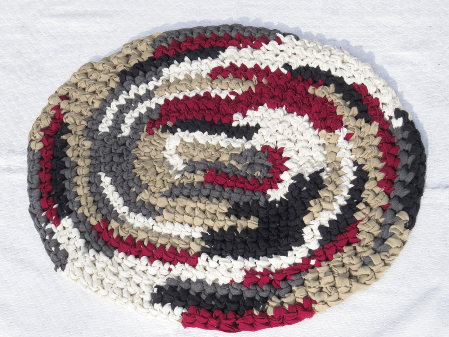 Crocheted Rag Rug T Shirt Rug Chef 39 S Kitchen Rug Red