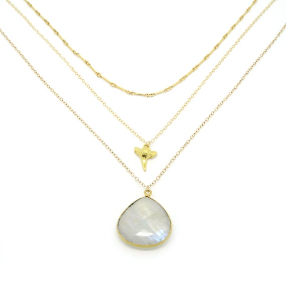 Gold Shark Tooth + Moonstone Layer Necklace