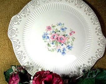 Royal China Sebring Cake Plate Serving Platter Tableware Fine China Pink Blue Flowers 22K Gold Trim Replacement Dish Model 5186