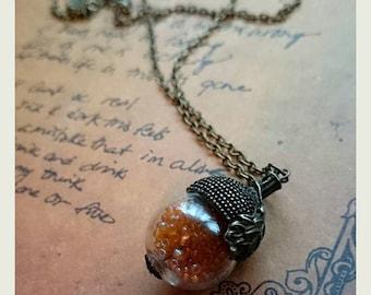 Woodland Acorn Snowglobe Necklace FREE Gift Box