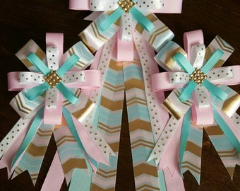 Horse show bows and tail bow set in light pink teal and gold chevron print