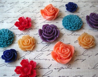 Pretty Magnets, 12 pc Flower Magnets, Mixed Bright Colors, Kitchen Decor, Housewarming Gifts, Wedding Favors, Locker Magnets, Office Decor