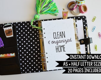 Cleaning Checklist, Cleaning Planner, Cleaning Printables, Half Letter Size + A5, 20 Pages, Printable A5 Planner, Instant Download