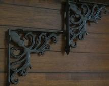 Shelf Brackets / Nautical Design /Oil Rubbed Bronze or Pick Color /Cast Iron Brackets /Octopus Design /Nautical Beach Decor / Indoor Outdoor