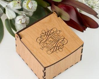 Engraved Wooden Wedding Ring Keepsake Box