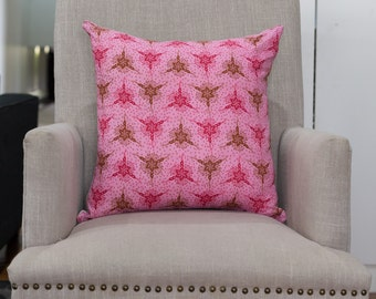 Cushion Cover/Pillow in Anna Maria Horner Anna Maria Horner LouLouThi Triflora Lipstick with a French Linen Backing