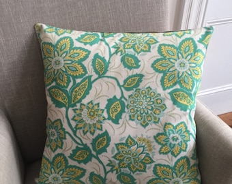 Large Joel Dewberry Upholstery Heirloom Fabric in Ornate Floral in Jade with French Linen back. This item is 55 x 55cm or 21.5 inches.
