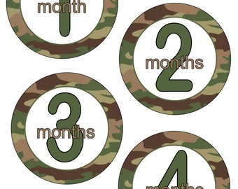 Camouflage Monthly Baby Stickers