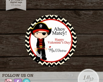 PRINTABLE- Valentine Pirate Favor Tags- YOU PRINT