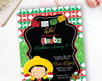 Fiesta Mexican Boy Birthday Invitation, Charro Invitation, Mexican Party Invite, Muchacho- YOU PRINT