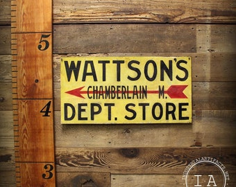 Vintage Hand Painted Wattson's Department Store Metal Advertising Sign