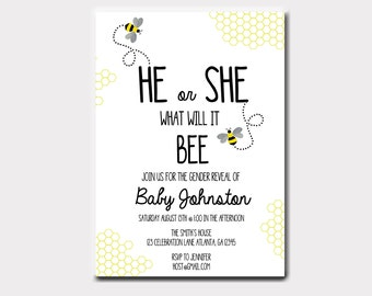 Bumble Bee Gender Reveal Invitation | What Will It BEE Invitation | Bee Invitation
