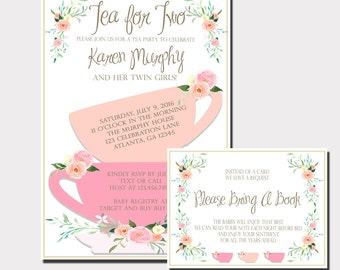 tea party baby shower invitation floral baby shower invitation twin