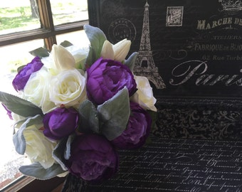 Peony Wedding Bouquet, Purple Silk Flower Bridal Bouquet, Purple Bouquet Peony Bouquet, Purple Gray Bouquet