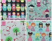 Bento Lunch Napkins - Dolls & flowers -choose your ownset of five cloth napkins