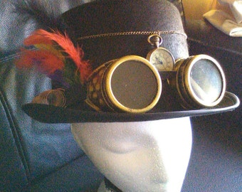 Steampunk top hat Steampunk hat watch goggles