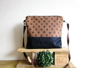 Everyday bag, Hand printed fabric, blue beetles stamp, denim bag, brown bag, handprinted bag