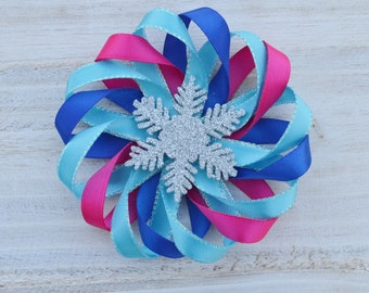 frozen hair bow, frozen hair clip, anna hair bow, snowflake hair clip, flower hairbow, bnna birthday hair clip, hot pink blue and teal clips