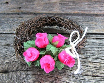 Rose Candle Ring Wreath, CUSTOM COLOR, Floral Flower Candle Ring, Rustic Candle Holder, Rose Wedding Centerpiece, Barn Country Wedding Decor