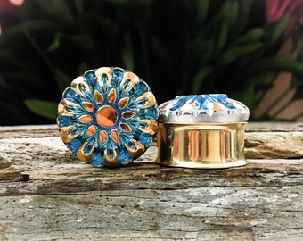 Teal and Gold Kaleidoscope Plugs, gauges  7/8, 1 inch