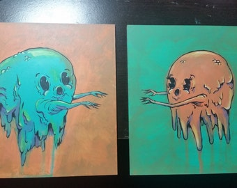 Monsters in Love Original 2 Piece Acrylic Painting