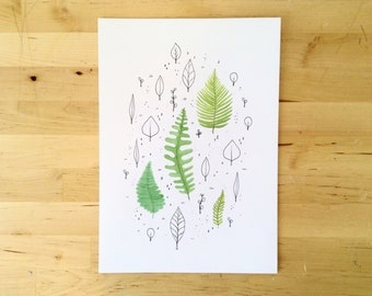 Leaves and Ferns Print