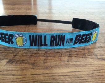 Will run for beer headband. Beer run headband, beer mile headband, beer headband, running headband, hair accessory, sassy band, runner gift