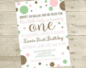 Sweet As Sugar Birthday Invitation - Digital File
