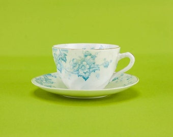 6 Persons Art Nouveau Large Floral Cup Bone China Saucer TEA SET Blue And White Antique Gift Coffee 1890s English LS