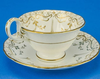 6 Person English Antique China TEA SET Coffee Saucer Cup 1830s Floral Luxurious Plate Gold Neo-classical LS