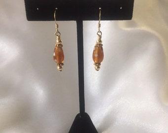 Vermeil Gold Earrings, Fishook Earrings, Minimalist Earrings, Handmade Earrings, OOAK Jewelry, Gift For Her, Gift Under 20, Lampwork Glass
