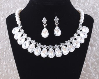 Bridal Necklace Wedding Necklace Set Crystal Pearl Wedding Bridal Necklace Bridal Jewelry Wedding Jewelry Bridal Accessories Style-N7