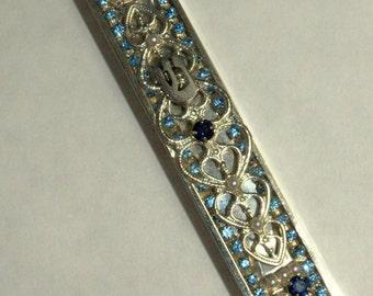 Mezuzah Case Judaica Aluminum Aqua Blue Crystals Silver SHIN 7 cm
