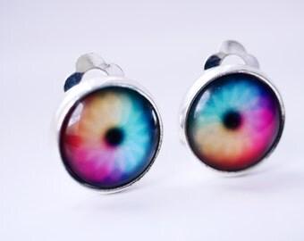 Rainbow eye clip-on earrings