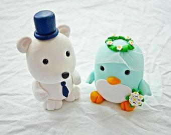 Penguin + Polar bear wedding cake toppers
