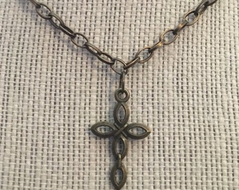 "16""Bronze Open-Loops Cross Necklace"