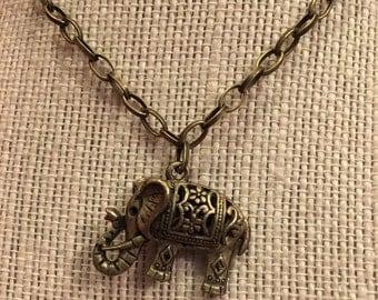 "16"" Bronze Elephant Necklace"