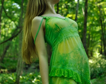 Tinkerbell Pixie Green Tie Dye Fairy Dress