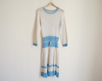 Handmade Crochet Dress / Vintage 1970s Crochet Dress