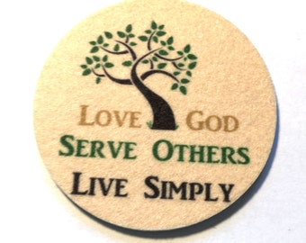 Live Simply Coaster Set - Free Shipping - Absorbent Drink Coasters - Inspirational Words Coaster - Green Product