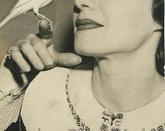 Actress Irene Isham w canary bird antique photo montage
