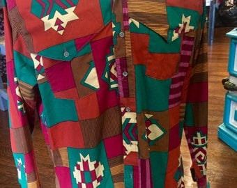 Vintage 80's Men's Wrangler Navajo/Southwestern Print Button Down- Vibrant Color Combo Of Brown's & Green's - Wrangler Rodeo Cowboy Sz Large