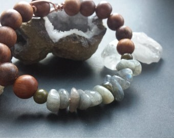 Labradorite and Wood Bracelet