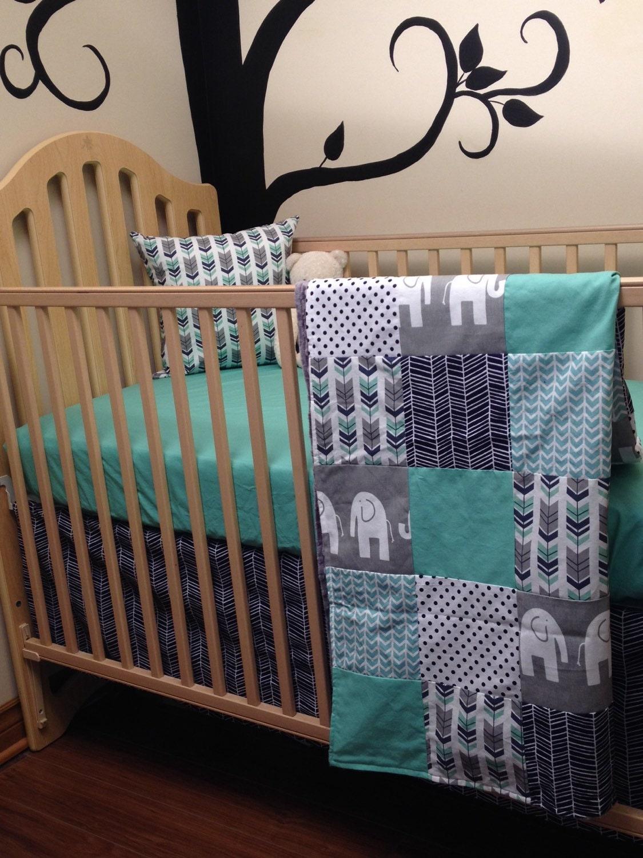 Elephant Baby Boy Crib Bedding Patchwork Blanket By