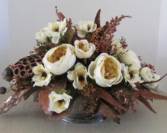 Silk Flower Centerpiece, Home Decor Arrangement, Parchment Cabbage Roses Centerpiece