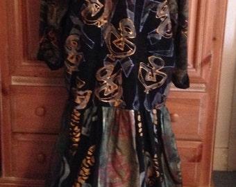 V C Torias Handpainted Sweater snd Silk Art Dress