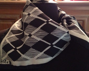 Vintage VERA Neuman Black and White Argyle Scarf