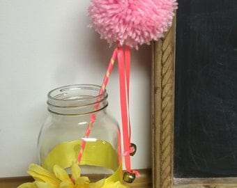 Pretty princess yarn Pom Pom fairy wand